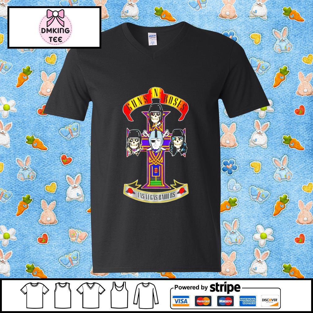 Guns N' Roses Las Vegas Raiders t-s Guy v-neck t-shirt
