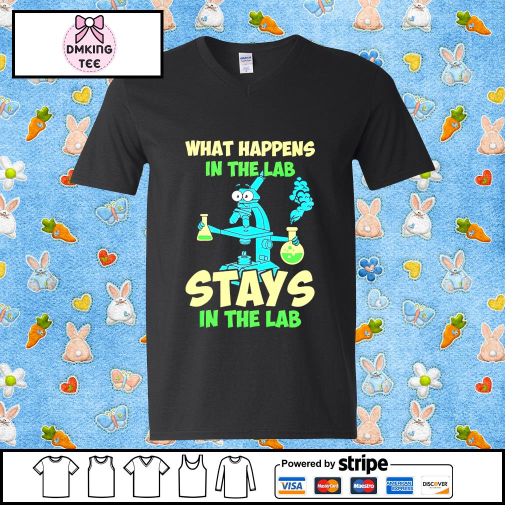 Official What happens in the lab stays on the lab Guy v-neck t-shirt