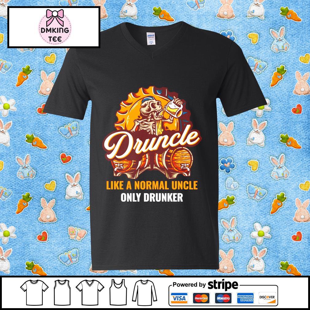 Skull and beer druncle like a normal uncle only drunker Guy v-neck t-shirt