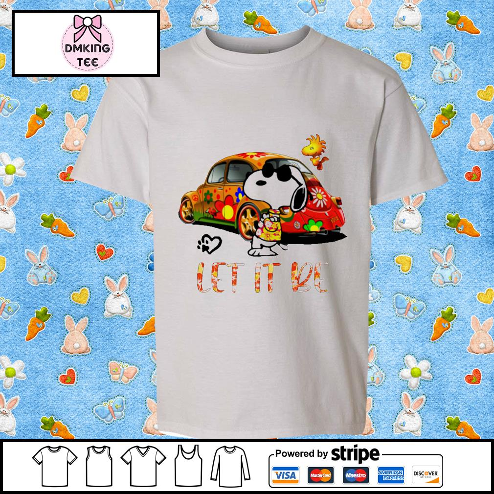 Snoopy and Woodstock let it be hippie car shirt