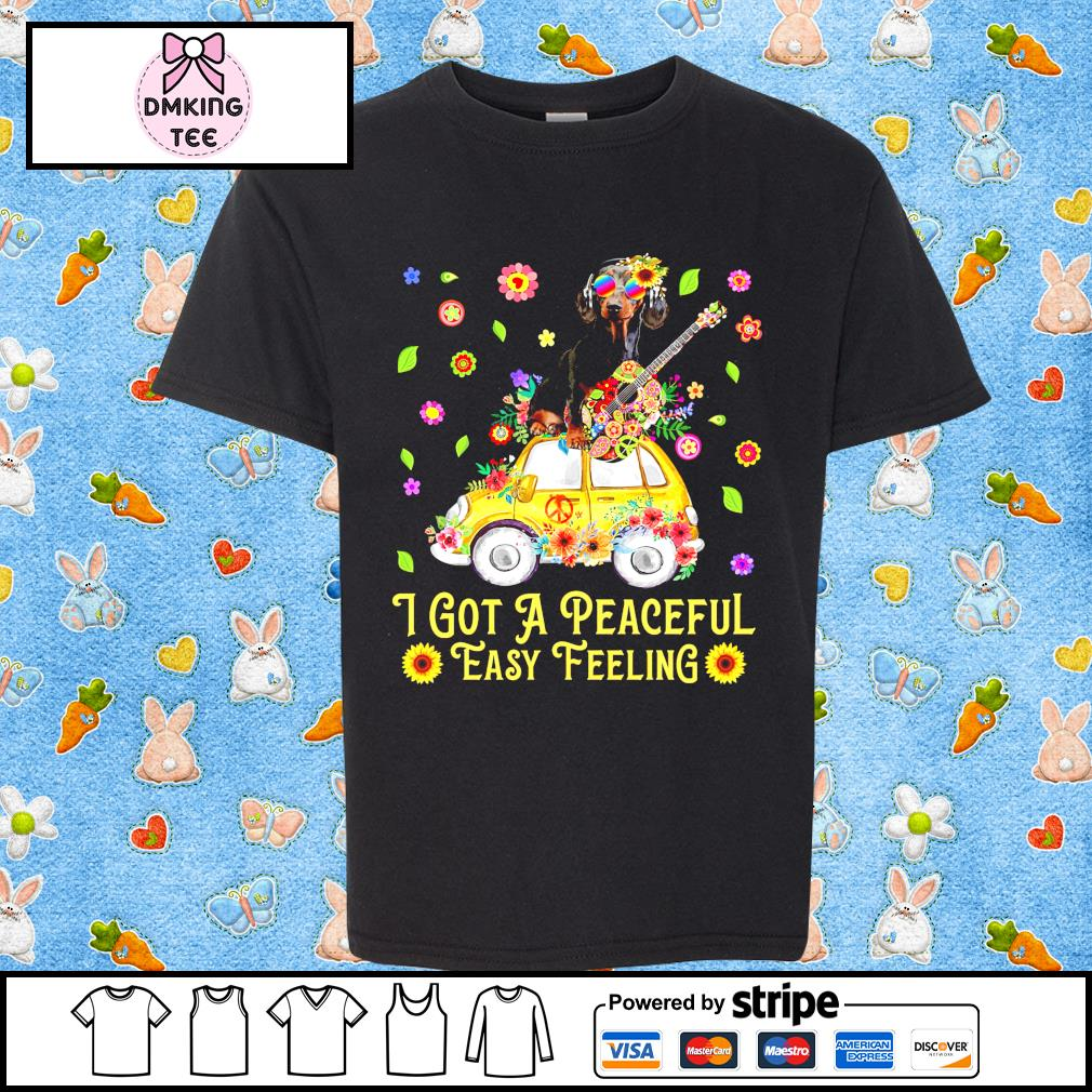 Dachshund guitar and Hippie Peace I got a peaceful easy feeling shirt