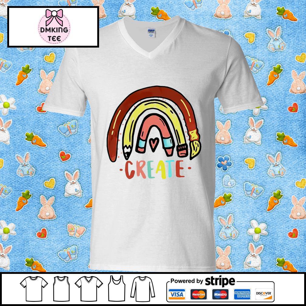 Rainbow pencil create Guy v-neck t-shirt